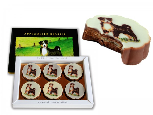 Schokoladenkonfekt mit Sennenhundbild